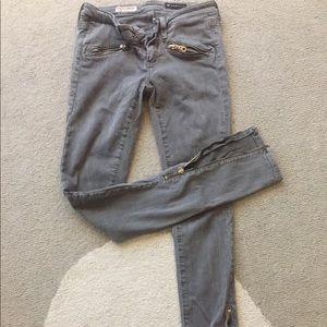 AG theory stretch jeans gray sz 25 zipper leg